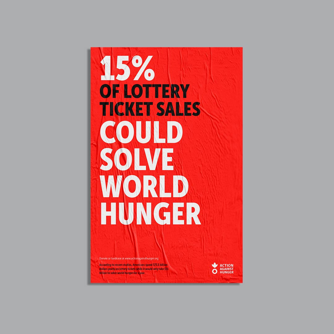 Poster reads '15% of lottery sales could solve world hunger'
